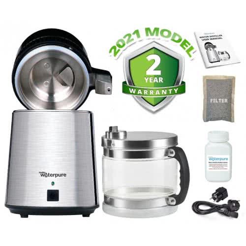 Stainless Steel Water Distiller with Glass Collection Jug